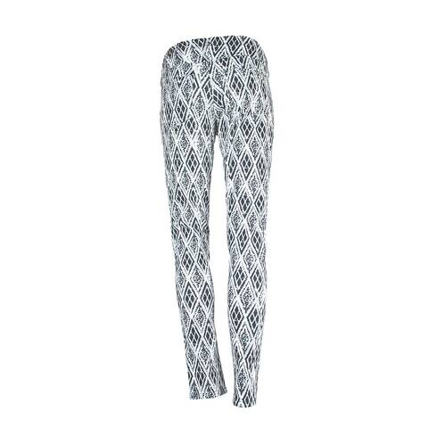 Pantaloni dama Sublevel, alb-negru cu romburi