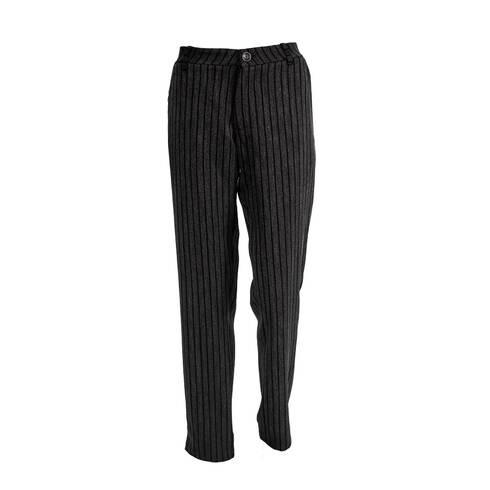 Pantaloni de stofa gri, cu dungi negre