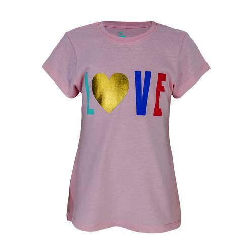 Tricou fetite roz, cu imprimeu LOVE