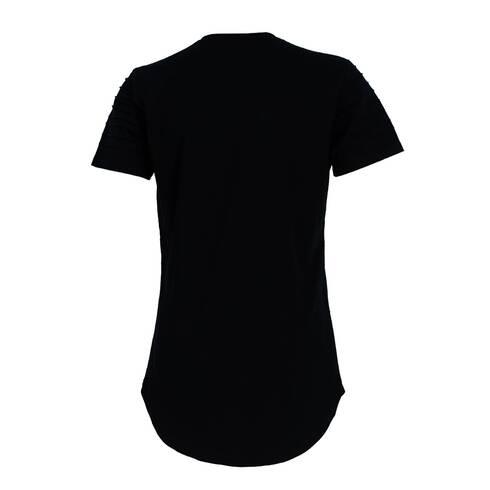 Tricou negru, cu taiaturi si pliuri la maneca