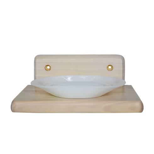 Set,  suport sapuniera din lemn si sapuniera