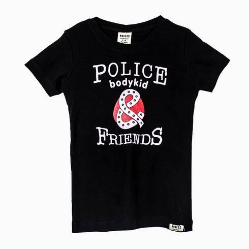 Tricou copii POLICE BODYKID, negru cu imprimeu mov