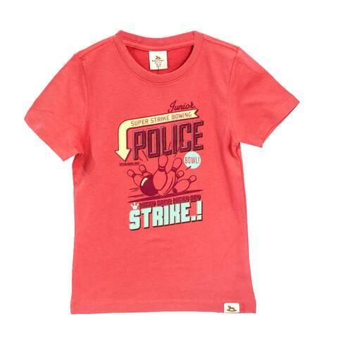 Tricou copii POLICE ZEBRA JUNIOR, caramiziu