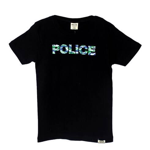 Tricou copii POLICE BODYKID, negru cu scris POLICE