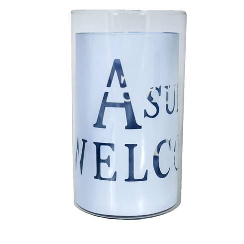 Pahar decorativ din sticla, cu placuta in interior