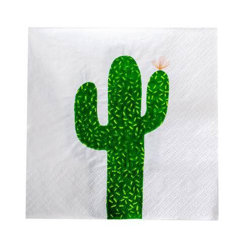 Servetele de masa, albe cu cactus verde