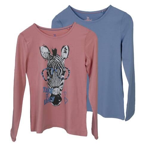 Set 2 bluze fetite, roz piersica si albastru