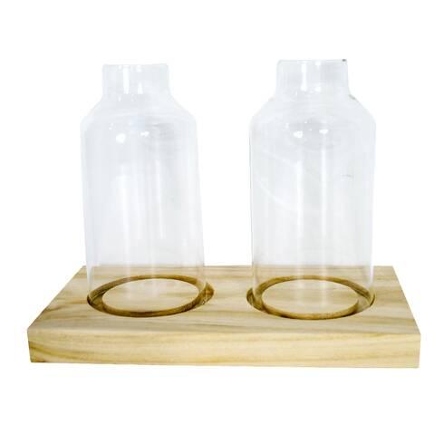 Set 2 sticle ornament pe suport de lemn