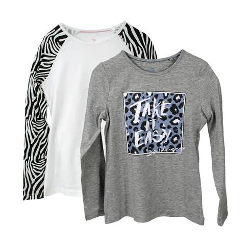 Set 2 bluze fetite, gri si alb, cu imprimeu