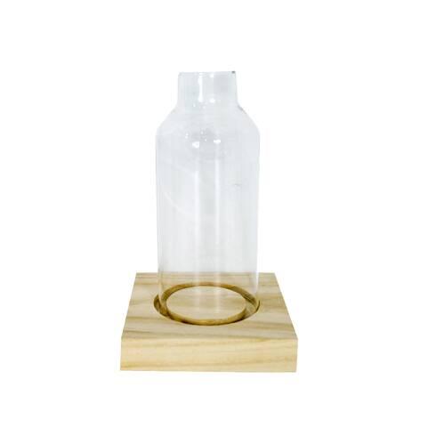 Sticla ornament, pe suport de lemn