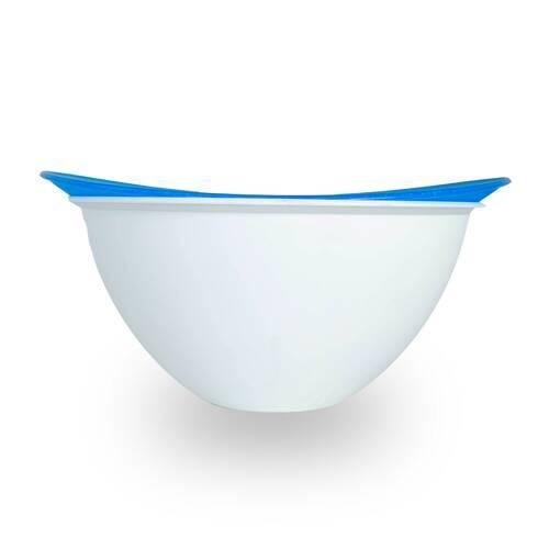 Bol cu strecuratoare din plastic, alb-albastru