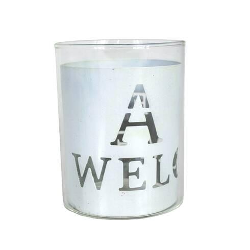 Pahar decorativ din sticla cu metal