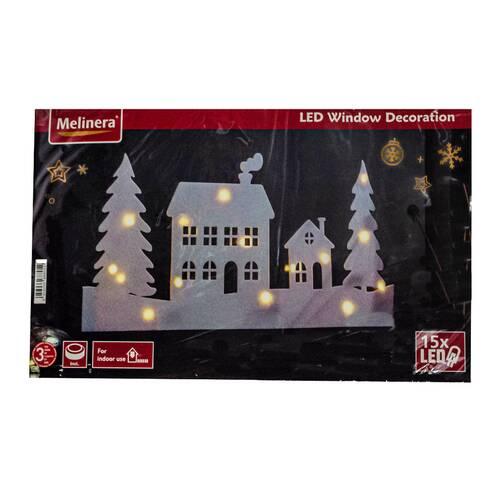 Decoratiune cu led pentru ferestre, peisaj iarna, casa cu brazi