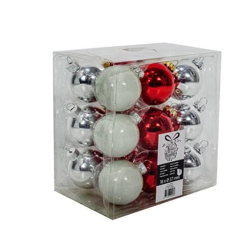 Set 18 globuri Xmas-Baubles, rosii-argintii-cenusii
