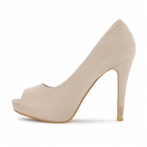 Pantofi Feli Rose, bej, varf decupat