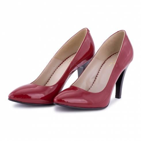 Pantofi dama, Diane Marie, rosu lucios, piele naturala