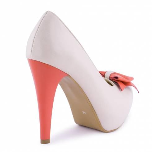 Pantofi dama, Diane Marie, bej-corai, din piele naturala