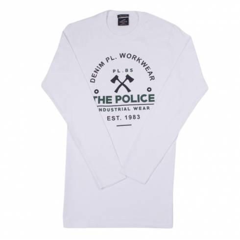 Bluza barbati, Police, alb, cu text: Industrial Wear