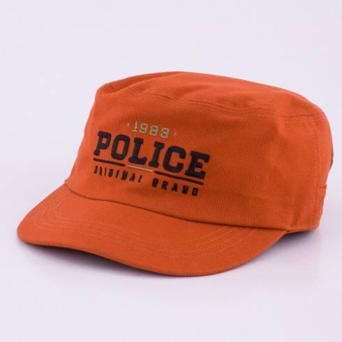 Sapca Police, portocalie cu scris negru