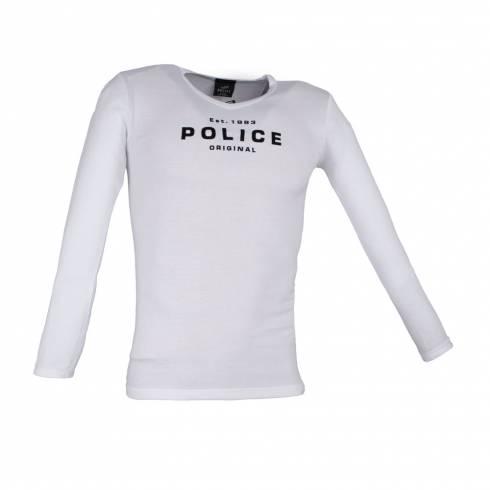 Bluza barbati, Police, alb, cu text
