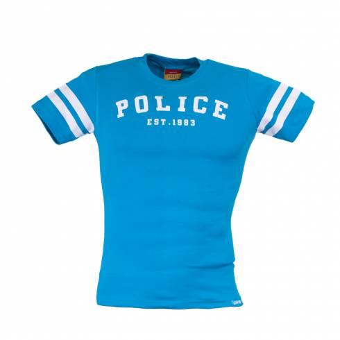 Tricou POLICE ZEBRA albastru-alb