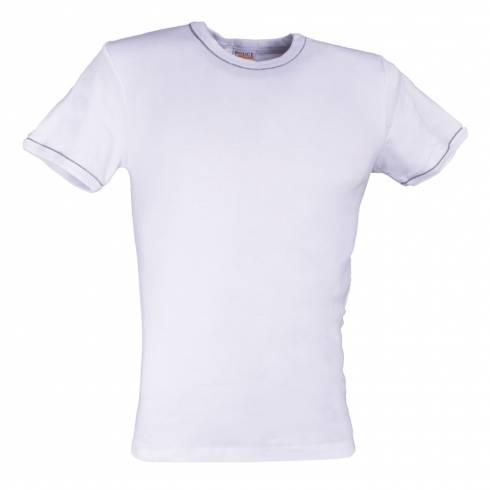 Tricou POLICE alb cu dungi gri