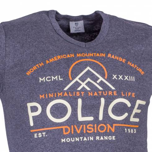 Tricou POLICE gri cu scris crem-orange