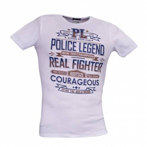 Tricou POLICE alb cu scris maro-negru