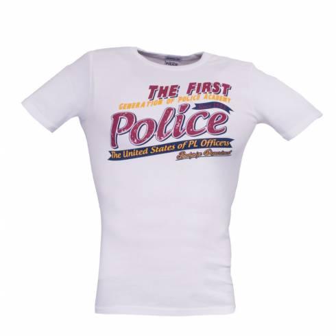 Tricou POLICE alb cu scris