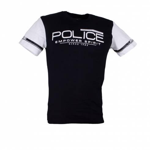 Tricou POLICE negru cu maneca alba