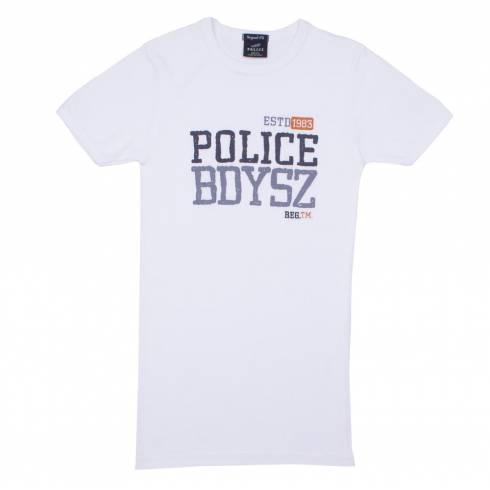 Tricou POLICE alb cu scrisTricou POLICE