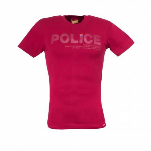 Tricou POLICE rosu cu scris