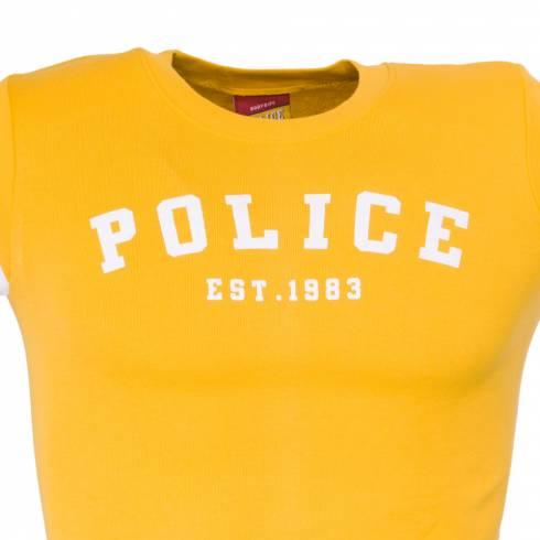 Tricou POLICE galben cu dungi