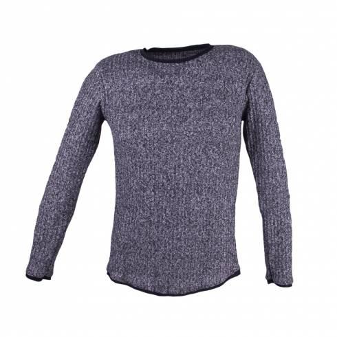 Bluza barbati. tricotata, alb-negru
