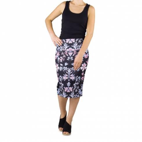 Fusta dama lunga, Tally Weijl, neagra cu model floral