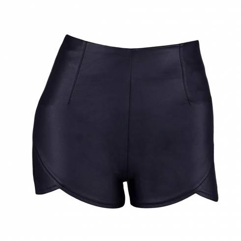Pantaloni scurti dama, Tally Weijl, din piele neagra cu fermoar la spate
