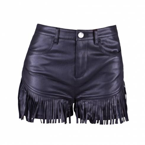 Pantaloni scurti dama, Tally Weijl, din piele neagra cu franjuri