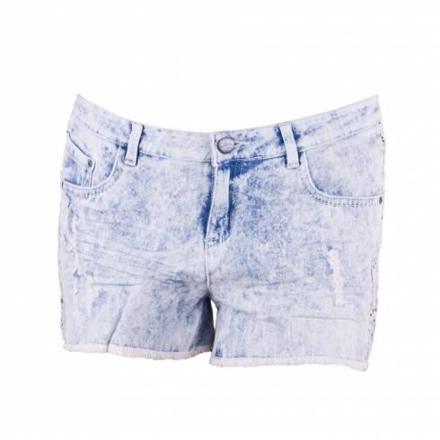 Pantaloni scurti dama albastrii cu dantela