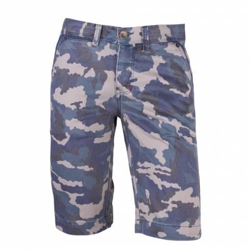 Pantaloni barbati, scurti, maro-albastru, model camuflaj