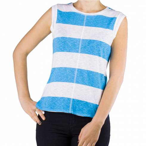 Tricou dama alb-albastru