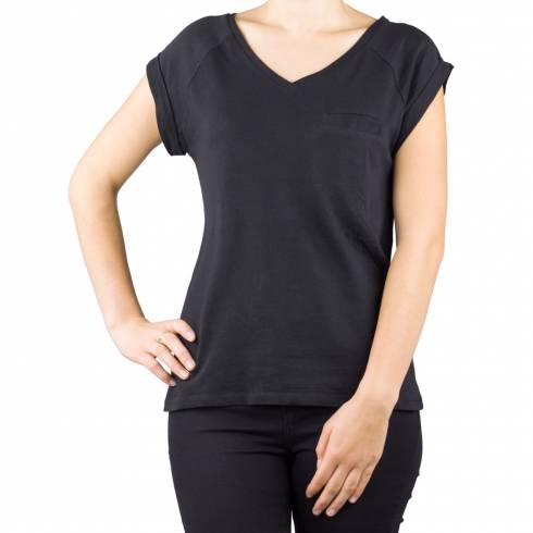 Tricou dama, negru cu buzunar