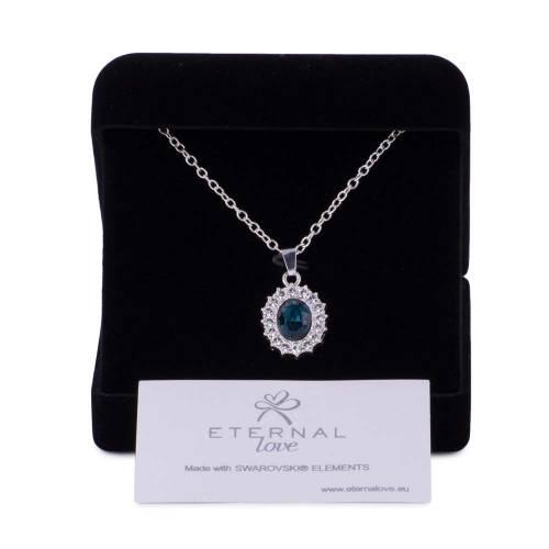 Colier, Eternal Love, piatra albastru inchis, cu elemente swarovski