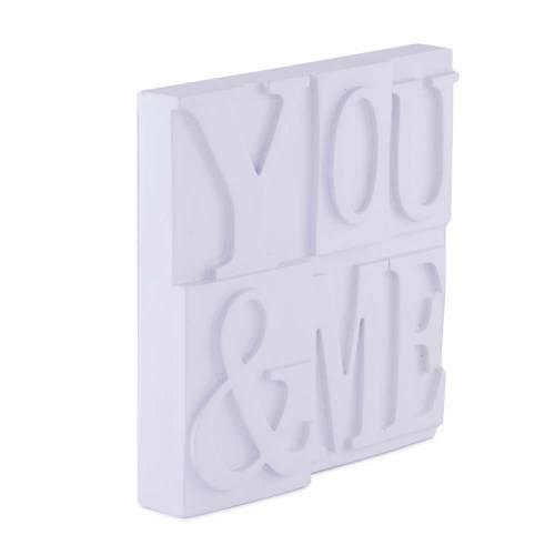 """Placuta decorativa alba, din lemn cu mesaj """"YOU & ME"""""""
