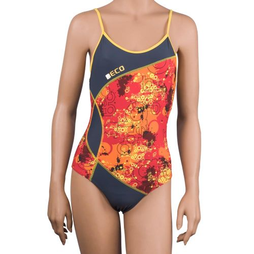 Costum de baie intreg, Beco, gri-portocaliu