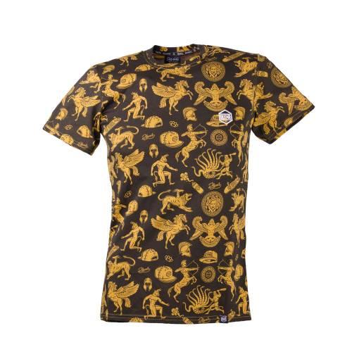 Tricou barbati, negru-galben cu model mitologic